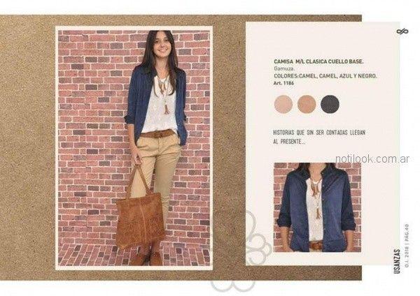 pantalon de gabardina y camperita azul para mujer invierno 2018 - Las Taguas