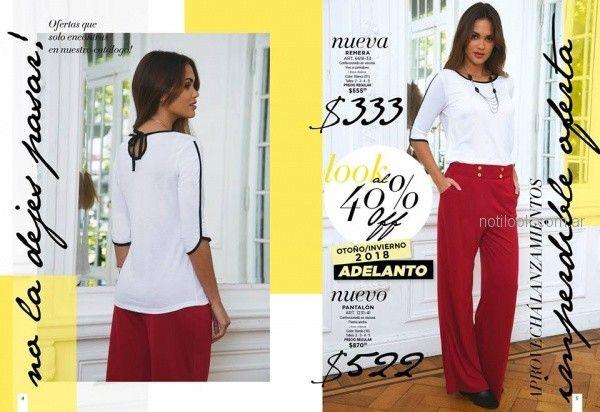 remera mangas tres cuarta blanca y pantalon bordo Juana bonita otoño invierno 2018