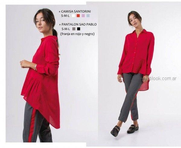 Camisa larga roja invierno 2018 - ONE Mujer
