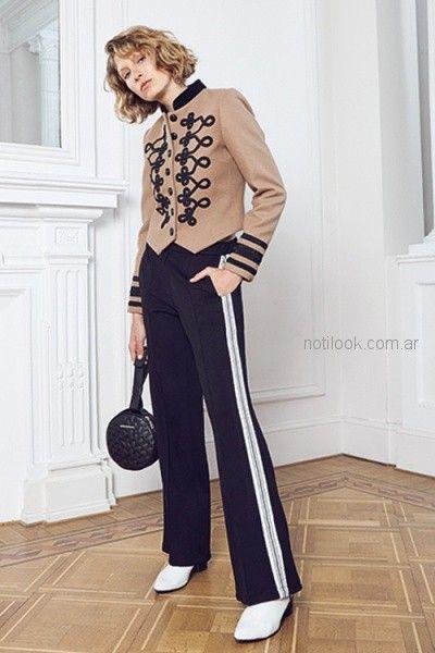 blazer cuello smok y pantalon con franjas laterales uma otoño invierno 2018