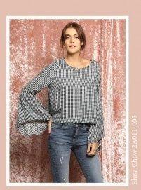 blusa a cuadros con mangas acampanadas juvenil peuque otoño invierno 2018