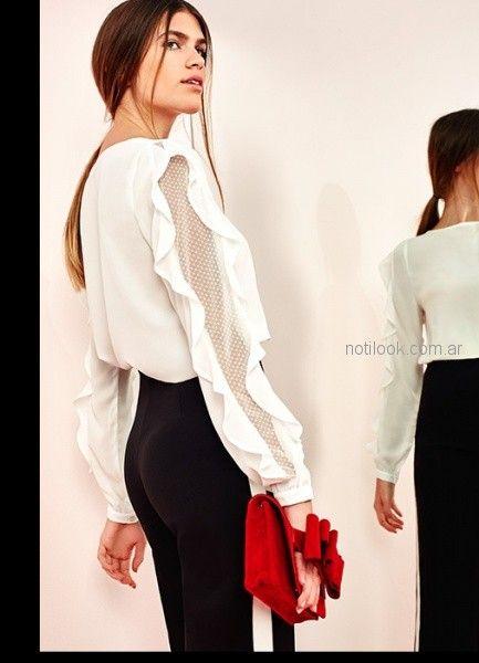 blusa blanca mangas largas con volados las oreiro otoño invierno 2018