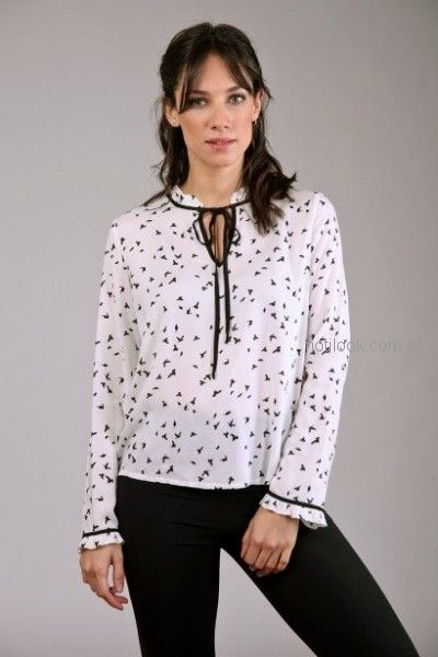 blusa blanco y negro mangas largas Brandel otoño invierno 2018