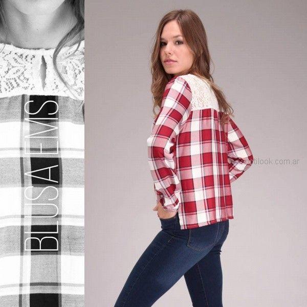 blusa cuadrille con recorte de encaje brandel invierno 2018