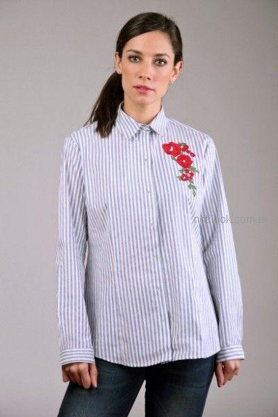 camisa a rayas con bordado Brandel otoño invierno 2018