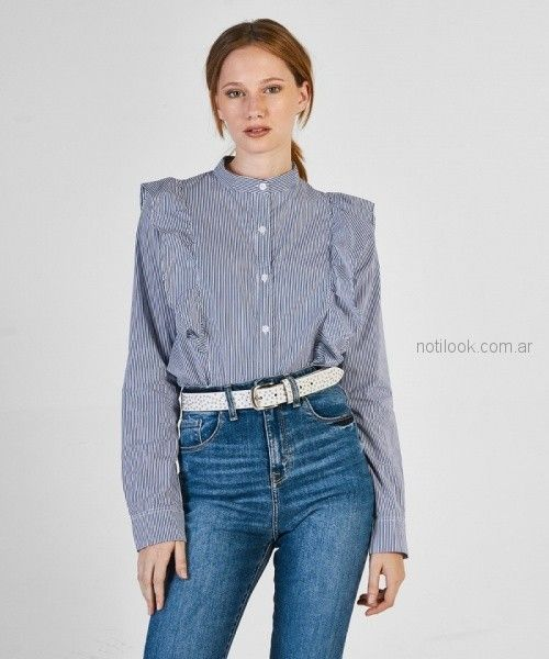 camisa a rayas con volado mujer kosiuko otoño invierno 2018