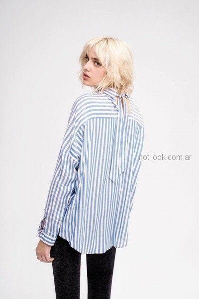 camisa a rayas mangas largas mujer inedita otoño invierno 2018