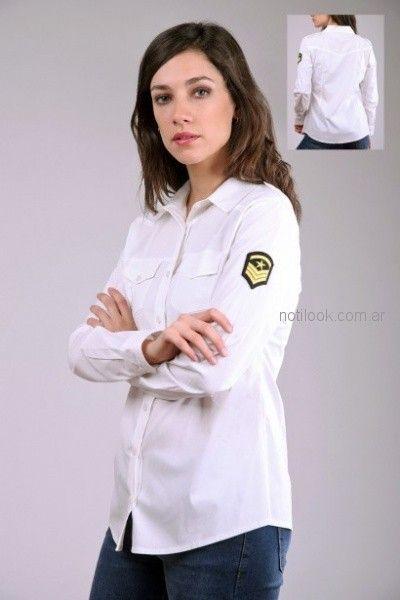 camisa blanca con escudo aviasion mujer Brandel otoño invierno 2018