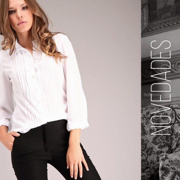 camisa blanca mujer mangas largas brandel invierno 2018