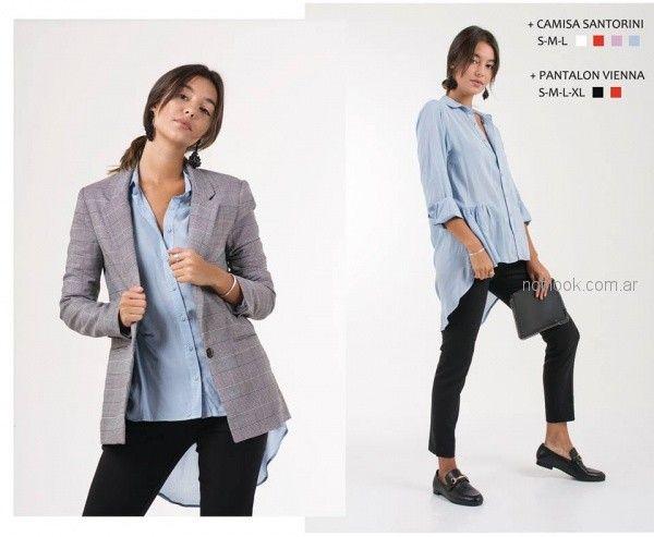 camisa celeste para mujer invierno 2018 - ONE Mujer