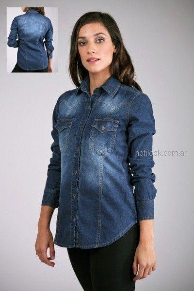 camisa jeans entallada mujer Brandel otoño invierno 2018