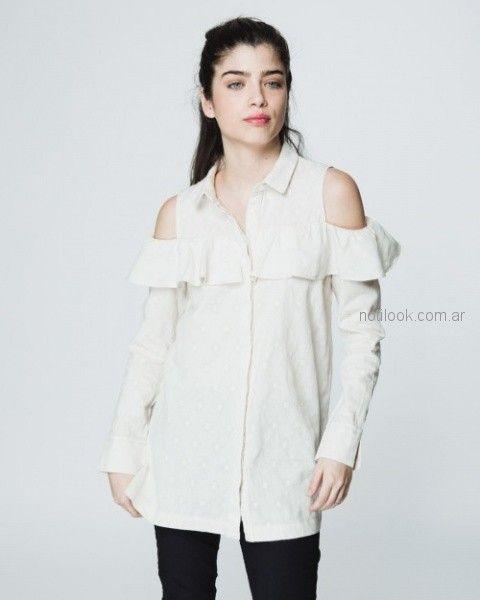 camisa mangas largas con recortes en los hombros Wanama otoño invierno 2018