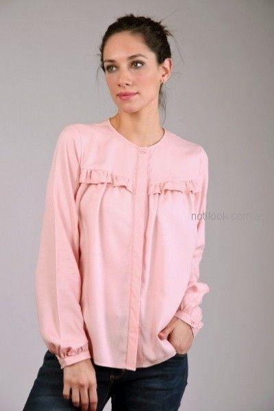 camisa mangas largas mangas plisadas rosada Brandel otoño invierno 2018