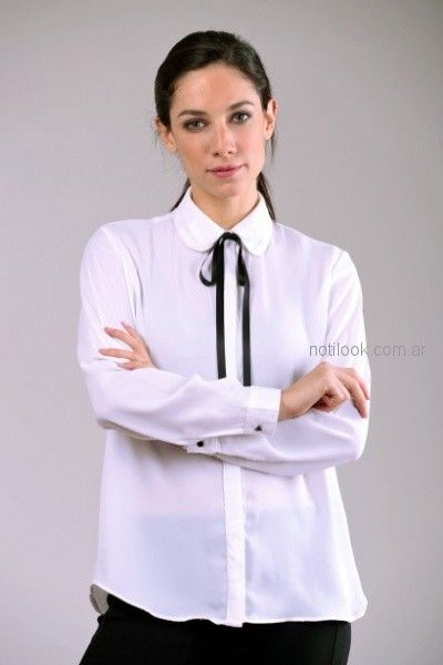 camisa mujer con cuello redondeado Brandel otoño invierno 2018