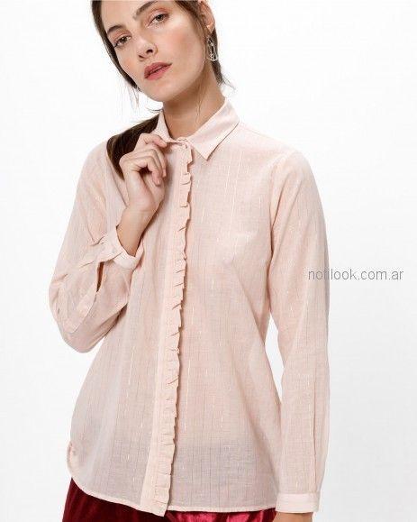 camisa mujer con volado al bies Desiderata otoño invierno 2018