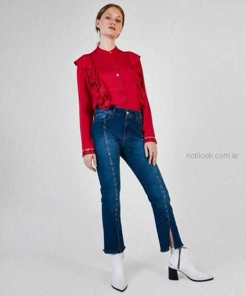 camisa roja con volados mangas largas mujer kosiuko otoño invierno 2018