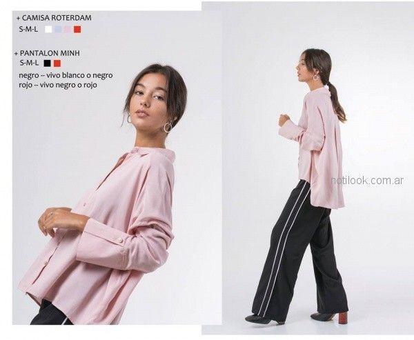 camisa rosada larga atras invierno 2018 - ONE Mujer