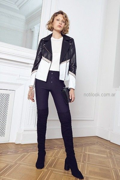 8da5f983a campera de cuero blanca y negra para mujer uma otoño invierno 2018 ...