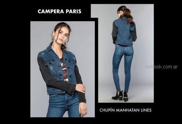 campera de jeans combinada Cuesta blanca otoño invierno 2018