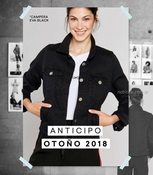 campera de jeans negra look mujer Yagmour invierno 2018