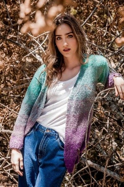 cardigan en degrade lana tejido florencia LLompart otoño invierno 2018