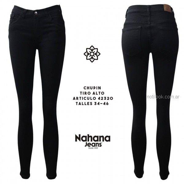 chupin tiro alto negro Nahana jeans otoño invierno 2018