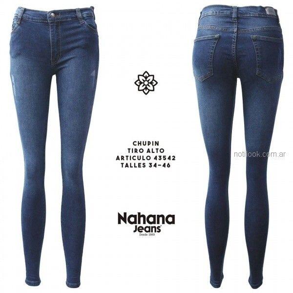 jeans chupin con detalles gastado tiro alto Nahana jeans otoño invierno 2018