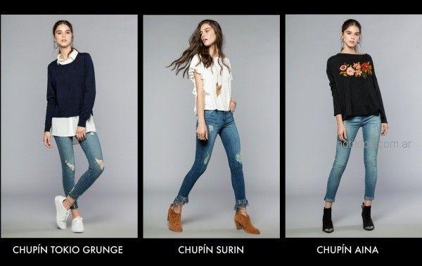 jeans chupin con flecos en el ruedo Cuesta blanca otoño invierno 2018