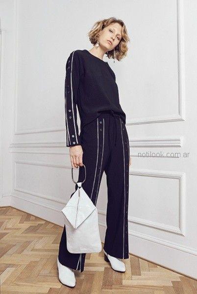 palazzo y blusa mangas largas con detalles blancos uma otoño invierno 2018