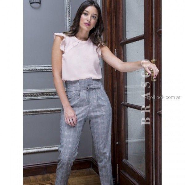 pantalon de vestir tiro alto mujer cuadrille Brasco otoño invierno 2018