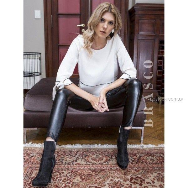 pantalon engomado negro y blusa blanca Brasco otoño invierno 2018