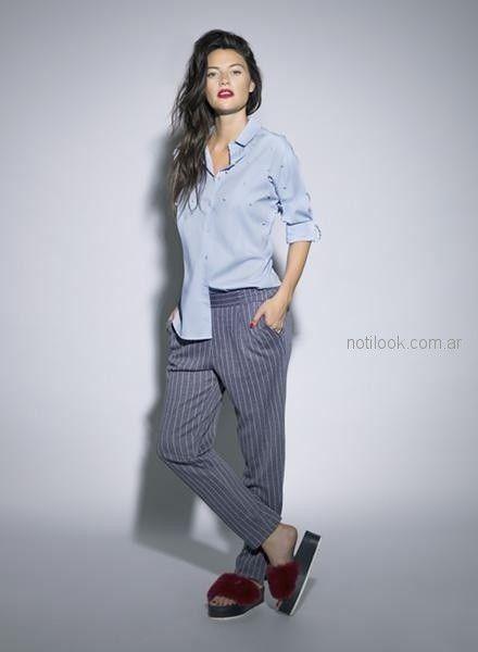 Pantalon Vestir A Rayas U Camisa Mujer Nucleo Otono Invierno 2018 Notilook Moda Argentina