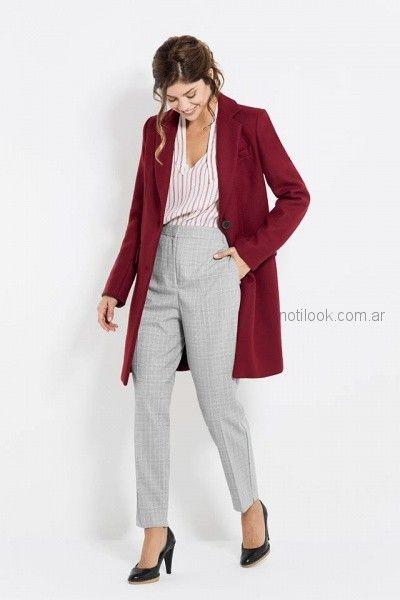saco bordo camisa a rayas mujer y pantalon tiro alto gris Activity Pret a Porter otoño invierno 2018