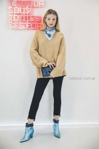 sweater lana jeans terminacion asimetrica y rustica kosiuko otoño invierno 2018