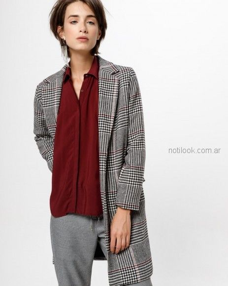 tapado cuadrille camisa bordo mujer Desiderata otoño invierno 2018