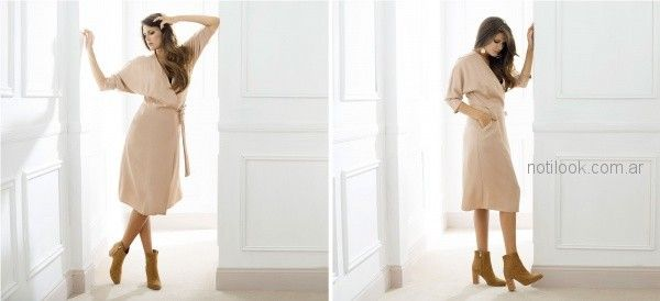 vestido corto con mangas cruzado teresa calandra otoño invierno 2018
