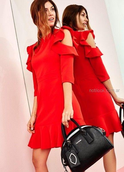 vestido corto tejido rojo las oreiro otoño invierno