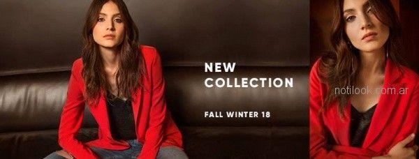 Zhoue - Blazer rojo para mujer otoño invierno 2018