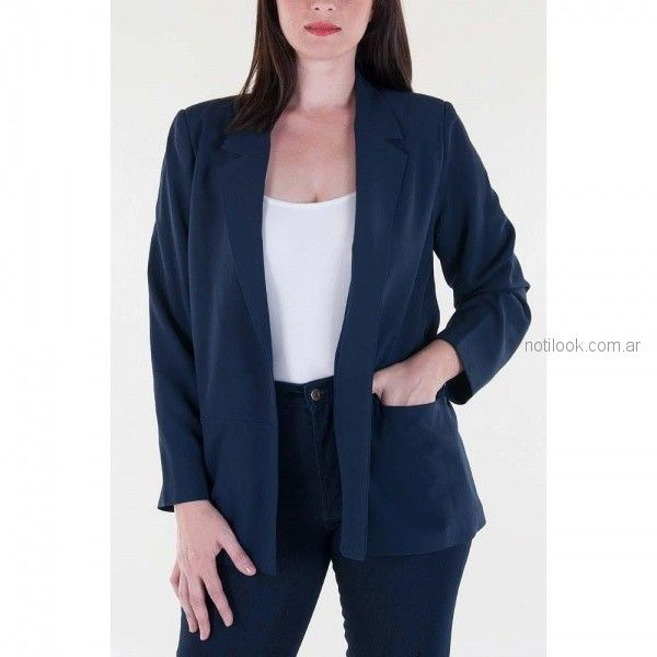 blazer azul para mujer mujer invierno 2018 - Mamy blue