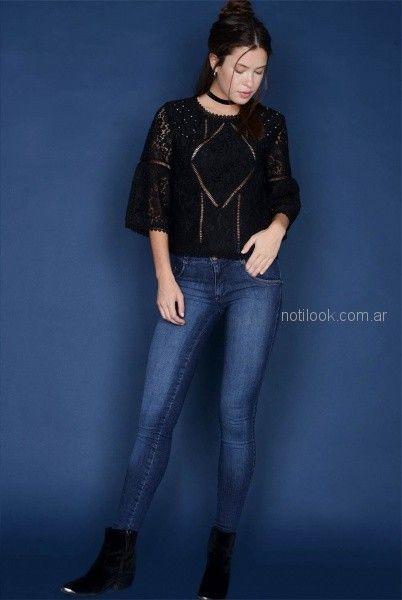blusa de encaje con jeans para mujer invierno 2018 - Viga jeans