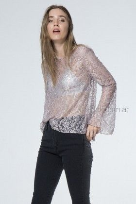 blusa microtul bordado metalizado tranparencias Materia invierno 2018