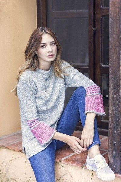 buzo lana mujer con mangas acampanadas orix otoño invierno 2018