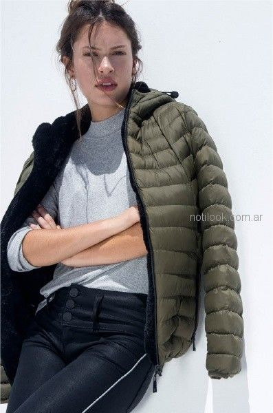 camepra impreneable verde militar para mujer invierno 2018 - Viga jeans