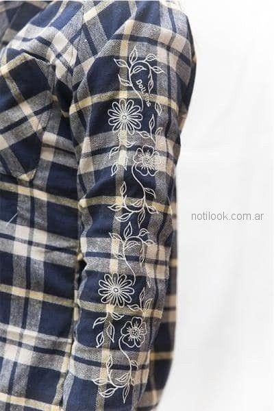 camisa a cuadros con bordado juvenil Doll fins otoño invierno 2018