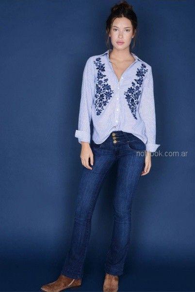 camisa bordada y jeans recto para mujer invierno 2018 - Viga jeans