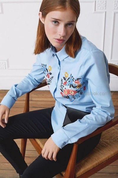 camisa con bordado floral rie otoño invierno 2018