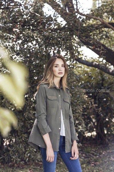 camisa de gabardina con tachas mujer orix otoño invierno 2018