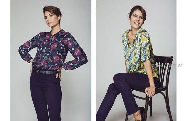 camisa y blusa estampada para señoras Etam otoño invierno 2018