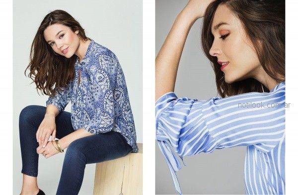 camisas con detalles en lazos en manga o escote ted Bodin otoño invierno 2018