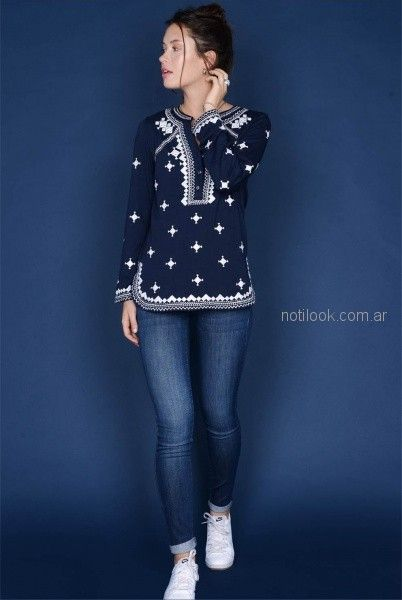 camisola azul bordada para mujer invierno 2018 - Viga jeans